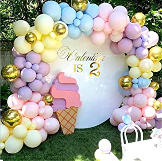 LDFWAYAU 122Pcs Rainbow Balloon Arch Garland Kit - Pink Gold Yellow Blue Purple Latex Balloons with Balloon Accessories fo...