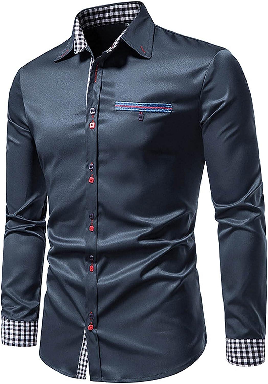 Mens Long Sleeve Slim Fit Dress Shirts Casual Stitching Plaid Lapel Lightweight Tops Button Down Shirt for Men Work