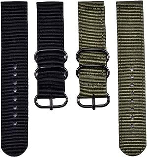 2 Piezas de Repuesto Watchbands Reloj de Nylon Correas, Ejército Verde y Negro