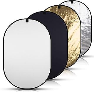 Abeststudio 背景布 黒 白 携帯用ポップアップ折りたたみ背景 150 x 200 cm 撮影用バックペーパー, 厚地 不透明,100% 綿、モスリン生地 + 2-in-1撮影用 折りたたみ式 レフ板 (銀、金)
