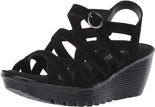 Skechers Women's Parallel-Three Strap Buckle Slingback Wedge Sandal