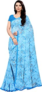 SIRIL Women's Turquoise Chiffon Printed Border Saree with Unstitched Blouse