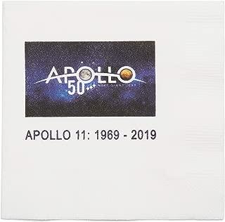 Apollo 11 Moon Landing Anniversary Cocktail Napkins Nasa Space Center Official Apollo 50th Anniversary Logo Pak of 24 Paper Napkins
