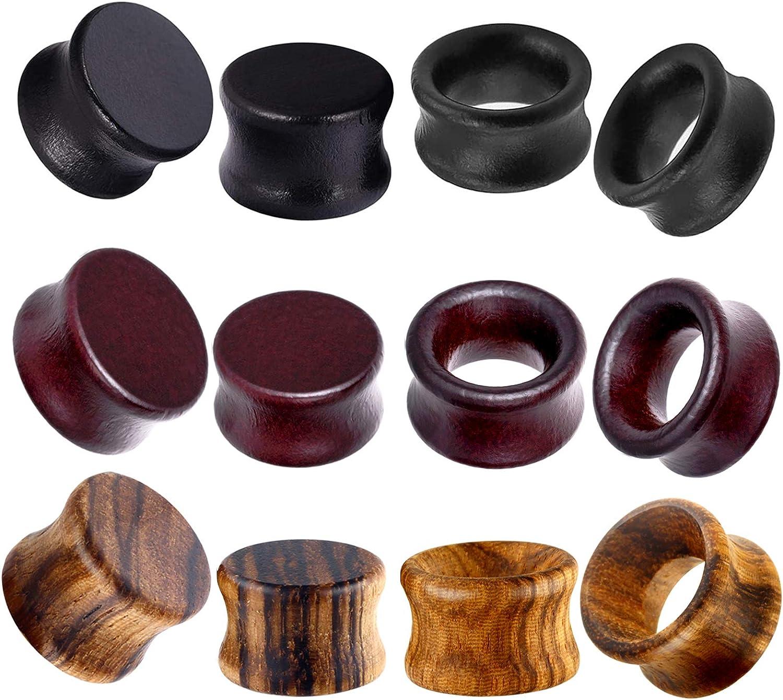 TIANCI FBYJS Max 43% OFF 12pcs Wood Ear Black Wooden Gauges Bargain sale Vintage Tunnels