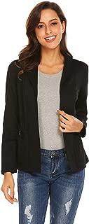 Grabsa Women's Long Sleeve Cardigan Jacket Work Office Blazer