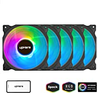 Asiahorse Music Change Lighting Design New Wireless RGB LED 120mm Case Fan,an Interactive Quiet Edition High Airflow Adjustable Fan for Chassis Radiators and Water Cooling System 6PACK