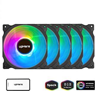 upHere Wireless RGB LED 120mm Case Fan,Quiet Edition High Airflow Adjustable Color LED Case Fan for PC Cases, CPU Coolers,Radiators System,5-Pack / C8123-5