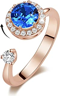 MXIN Rotating Birthstone Rings for Girls Womens Birthday Gifts Embellished with Crystals from Swarovski Ring 18K White/Rose Gold Plated Adjustable Size 5-9