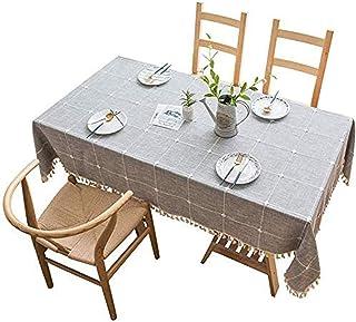 مفرش طاولة، مفرش طاولة شبكي بتصميم مربعات من القطن والكتان من لاكوبوس 140x180 سم (55 × 86 انش) للمنزل والمطبخ وتناول الطعا...