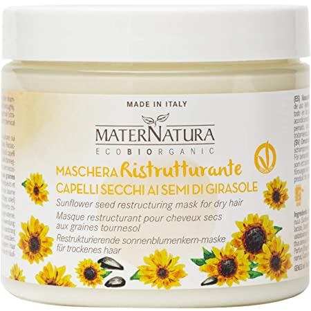Maternatura Maschera Capelli Ristrutturante ai Semi di Girasole, Certificata Bio - Made in Italy - Beauty Routine Capelli Secchi - 200 Ml