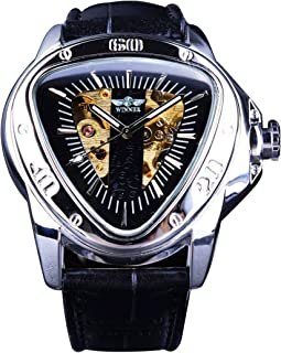 TIME24 Winner Fashion Automatic Mechanical Men's Wrist Watch Triangle Racing Dial Golden Skeleton Dial