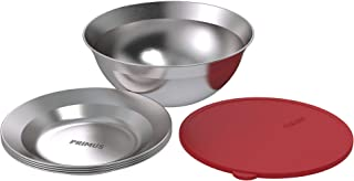 Primus | CampFire Serving Kit | Stainless Steel Plates, Bowl, and Silicon Lid for Camping & Outdoor Cooking
