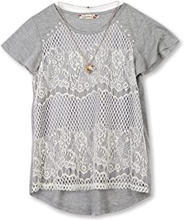 Girls' Big 7-16 Lace Front T-Shirt