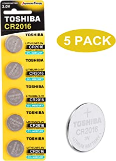 Toshiba CR2016 3V Lithium Coin Cell Battery Pack of 5