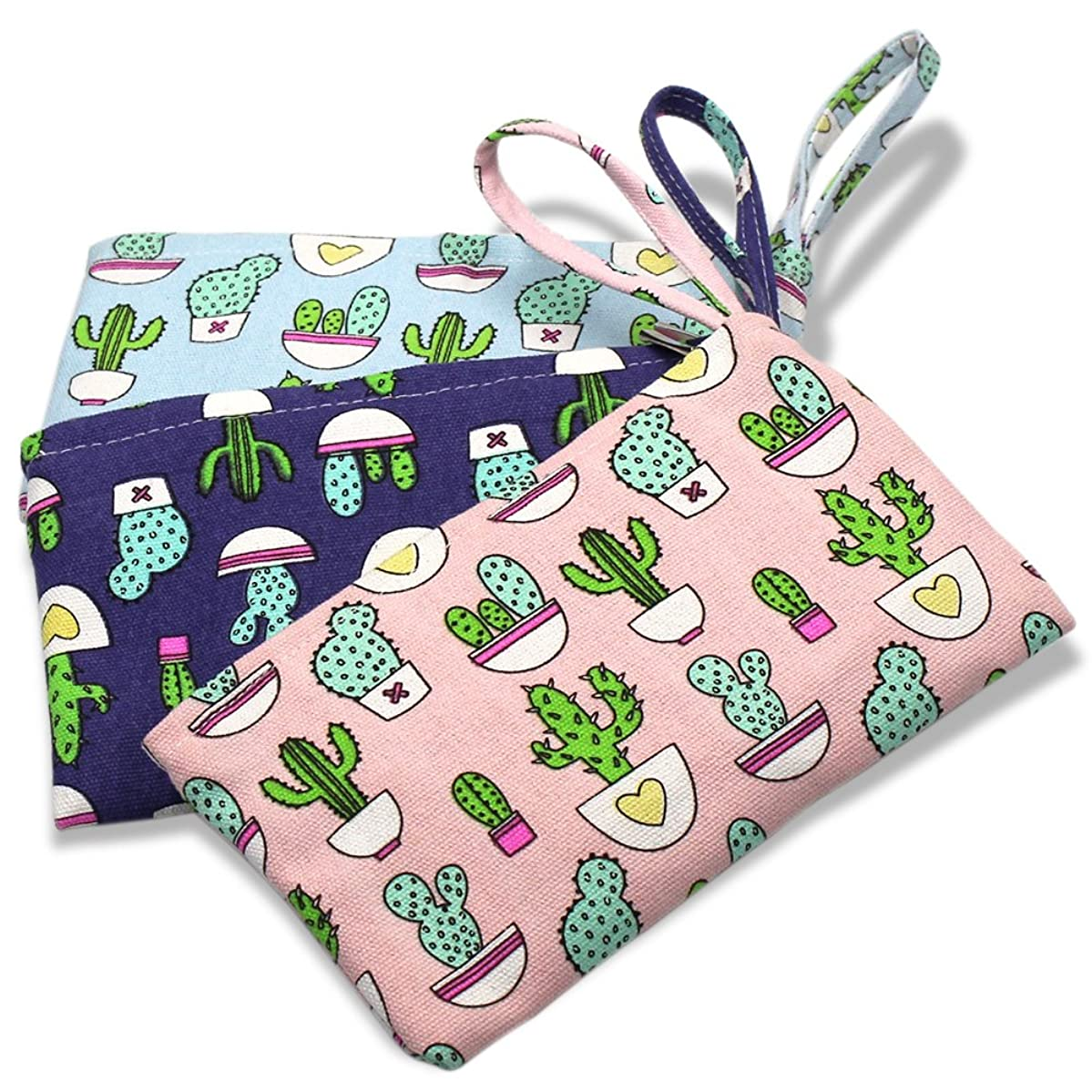 Set of 3 Cactus Pattern Canvas Zipper Coin Purse Wallet Bag Cosmetic Pen Pencil Stationery Pouch Bag Case by Erlvery DaMain