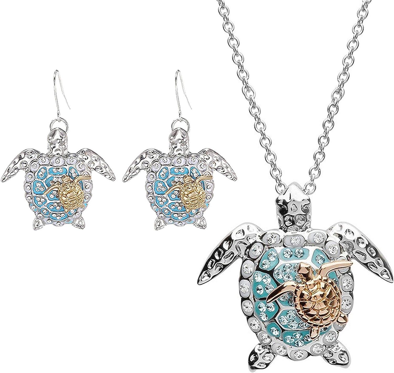Huangyong Sea Turtle Pendant Necklace Earrings Set Women Diamond Zircon Wedding Jewelry Set for Lover
