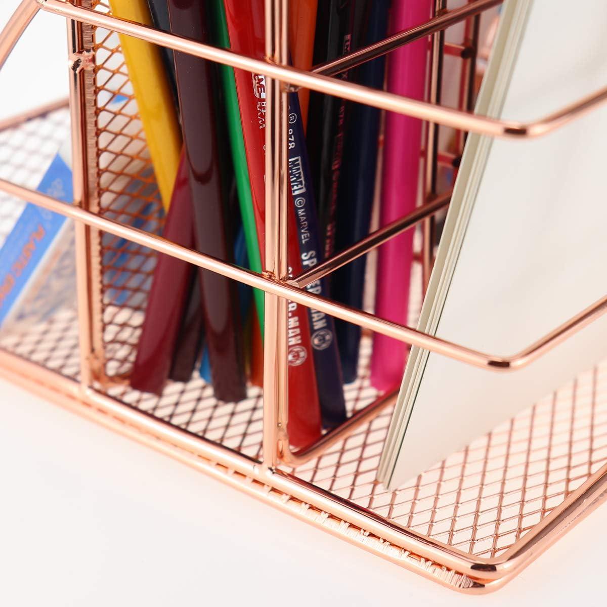 Pen Holder LEORISO Desk Organizer Supplies Gold Office Organizer with Mail Organizer Paper Organizer /& Desk Drawer Organizer School /& Home Metal Multifunctional Desktop Organizer for Office