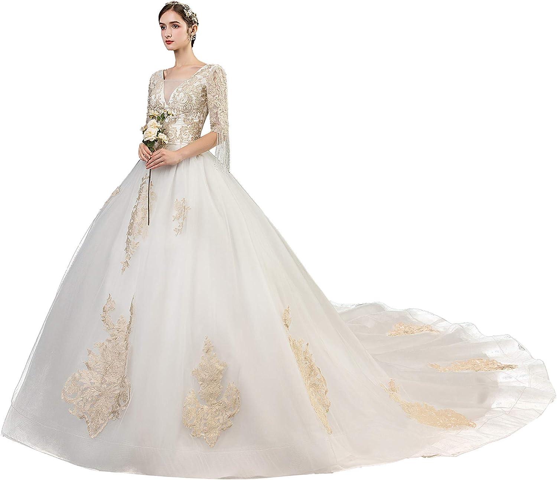 Deep V Neck White Wedding Dresses for Women200/20 Sleeves Long ...