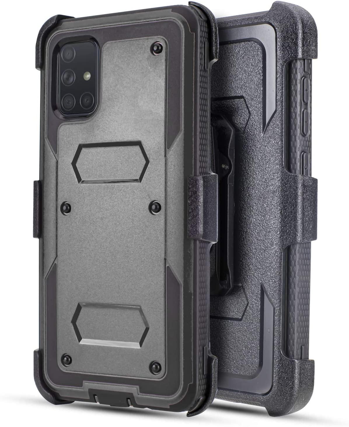 Customerfirst Samsung Galaxy A51 Case (Does NOT FIT A50) Built-in [Screen Protector] Heavy Duty Holster Cover [Belt Clip][Kickstand] (Black)