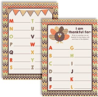"""I Am Thankful For"" A to Z Alphabet Thanksgiving Fill In Game Cards, Ten 5"