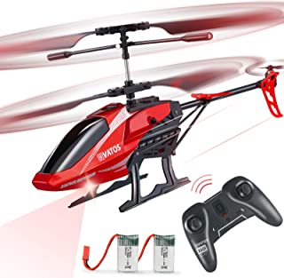 RC Helicopter, VATOS Remote Control Helicopter for Kids Altitude Hold Hobby RC Airplane with 2 Batteries Gyro & LED Light ...