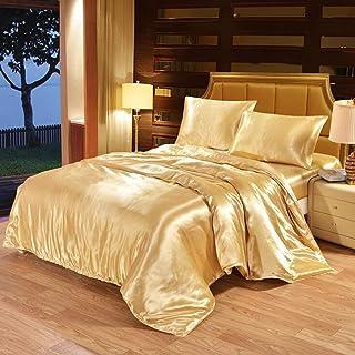 Feuille de couverture de couette en soie satin de soie haut de gamme Couleur solide en quatre pièces Set Pure Couleur de l...