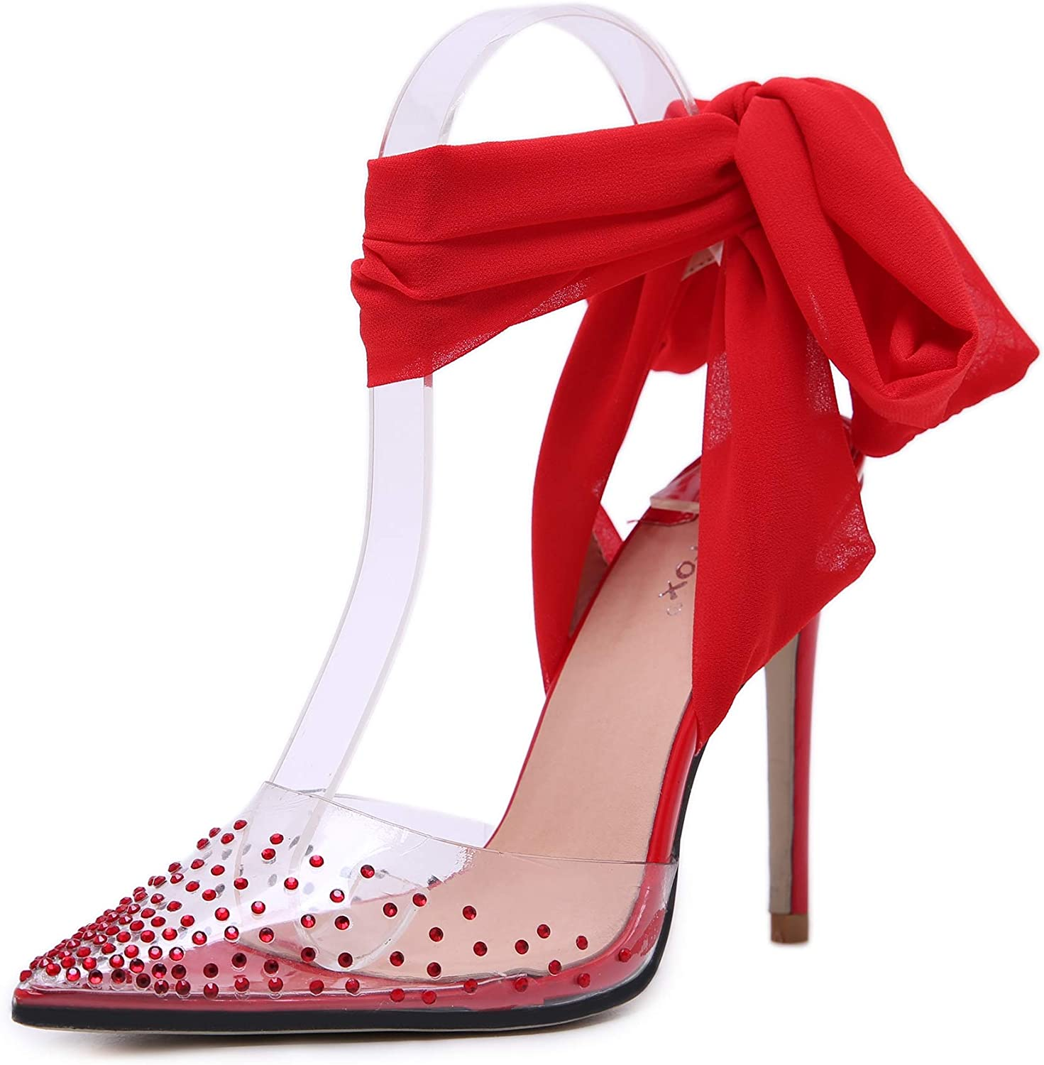 Women's Sandals - Rhinestone Ribbon Pointed Pins High Heel shoes Shallow Mouth shoes