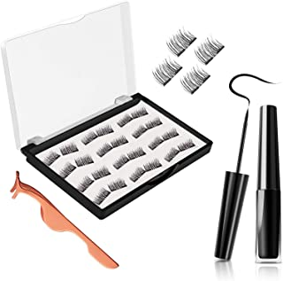 Magnetic Eyelashes, JDO Dual Magnetic Lashes 0.2mm Ultra-thin Magnet, Light weight & Easy to Wear, Best 3D Reusable Handmade False Eyelashes with Applicator (24 PCS)