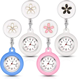 4 قطعه ساعت پرستار برای پزشکان پرستار ، کلیپ آویز Lapel Nurse Watch Silicone Cover Brooch Fob Pocket Watch Badge Reel Retractable Watch Digital