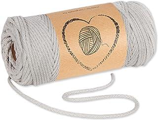 Baumwollkordel Kordel Baumwolle beige makramee garn 3mm - Baumwollgarn baumwollschnur baumwollseil kordelband mit Polyester-Kern 50M farbig