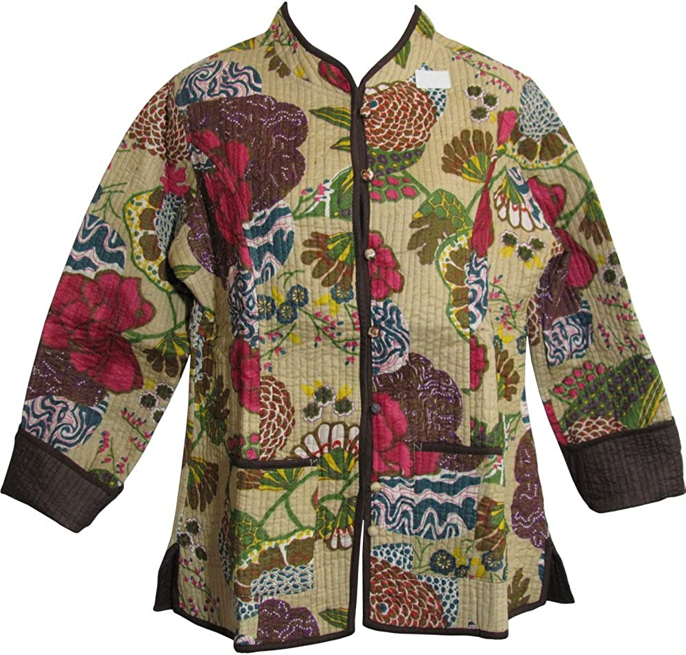 Reversible Missy Floral Quilted Cotton Outerwear Jacket Cardigan Blouse JK No17