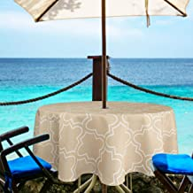 Eforgift Round Wrinkle Resistant Water Free Zipper Tablecloth with Umbrella Hole, Classic Moroccan Quatrefoil Umbrella Tablecloth Oil Proof Polyester Durable, Khaki 60-inch, Seats 4 People