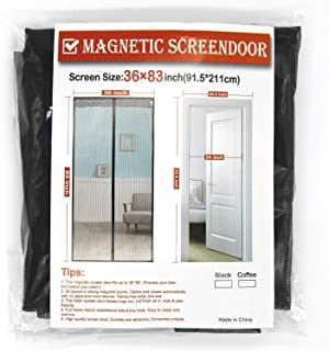 Magnetic Screen Door, Fiber Screen Heavy Duty mesh Door Screen and Full Frame Hook and Loop Fits Door Size up to 36x83 in, Fresh air in and Good Light Transmission (Gray)