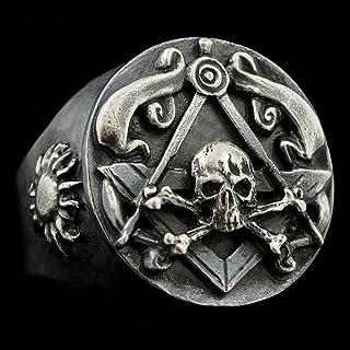 925 Sterling Silver Skull and Bones Mens Masonic Ring Antique Finish