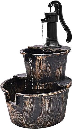 new arrival Giantex 2-Tier Rustic online Barrel Waterfall Fountain with Pump, Outdoor Cascading online sale Water Fountain for Garden Patio Deck Backyard Decor, Freestanding Garden Pump Barrel Fountain outlet online sale