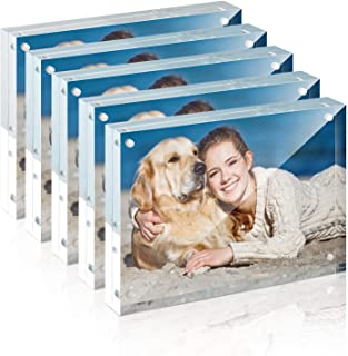 Picture Frame, TWING 5x7 Inch 5 Pack Acrylic Photo Frames Horizontal Magnet Double Sided Picture Frame Set with Microfiber...
