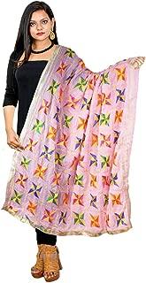 Traditional Punjabi Phulkari Dupatta Chiffon Multicolor Embroidered Stole Scalf Chunni Hijab for Woman