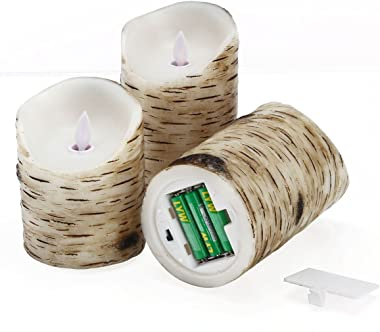 "comenzar Flickering Candles, Candles Birch Set of 4 5"" 6"" Birch Bark Battery Candles Real Wax Pillar with Remote Timer"