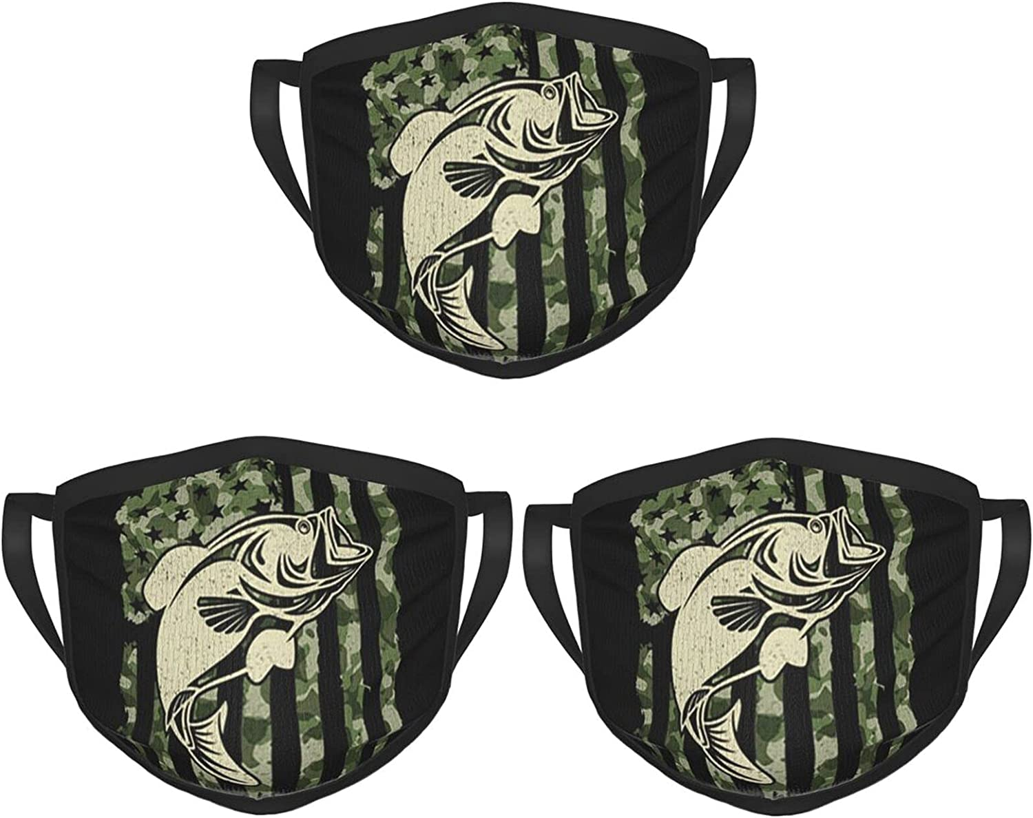 Balaclava Earmuffs American Flag Camouflage Bass Fishing Face Mouth Cover Mask Reusable Windproof Scarf Towel Cover Headwrap