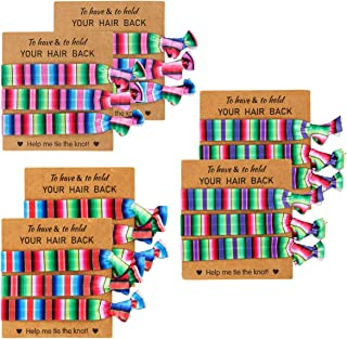 Madholly 18pcs Mexican Multi-Colored Elastic Hair Ribbon Bands- 2 Pack No Crease Hand Knotted Ouchless Ribbon Ponytail Hol...
