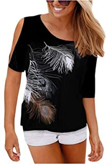 Relipop Women's Fashion Feather Print Off Shoulder Tops Short Sleeve Blouse Casual T-Shirt