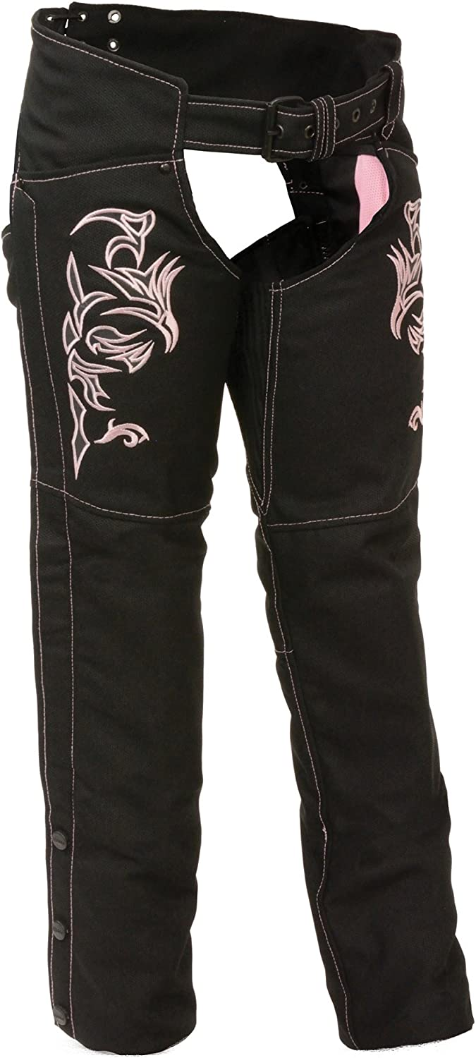 NexGen Women's Doulon P1300 Nylon Twill Chaps (Black Pink, Medium)