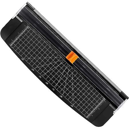 Letion Massicot A4 Papier Rogneuse, Coupe Papier en Titane avec Sécurité automatique pour Découper des photos ou des étiquettes/manuel de bureau/maison (noir)