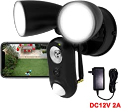 $99 » Outdoor Floodlight Camera Wired DC12V 2A, 1080P HD Plugged-in WiFi Home Security Camera, Motion-Activated,Two-Way Talk,Siren Alarm, Waterproof, Night Vision, Wall Light for Patio,Yard,Garage