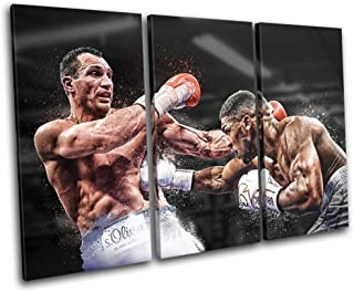 Bold Bloc Design - Boxing Anthony Joshua Klitschko Sports 120x80cm Treble Canvas Art Print Box Framed Picture Wall Hanging - Hand Made in The UK - Framed and Ready to Hang