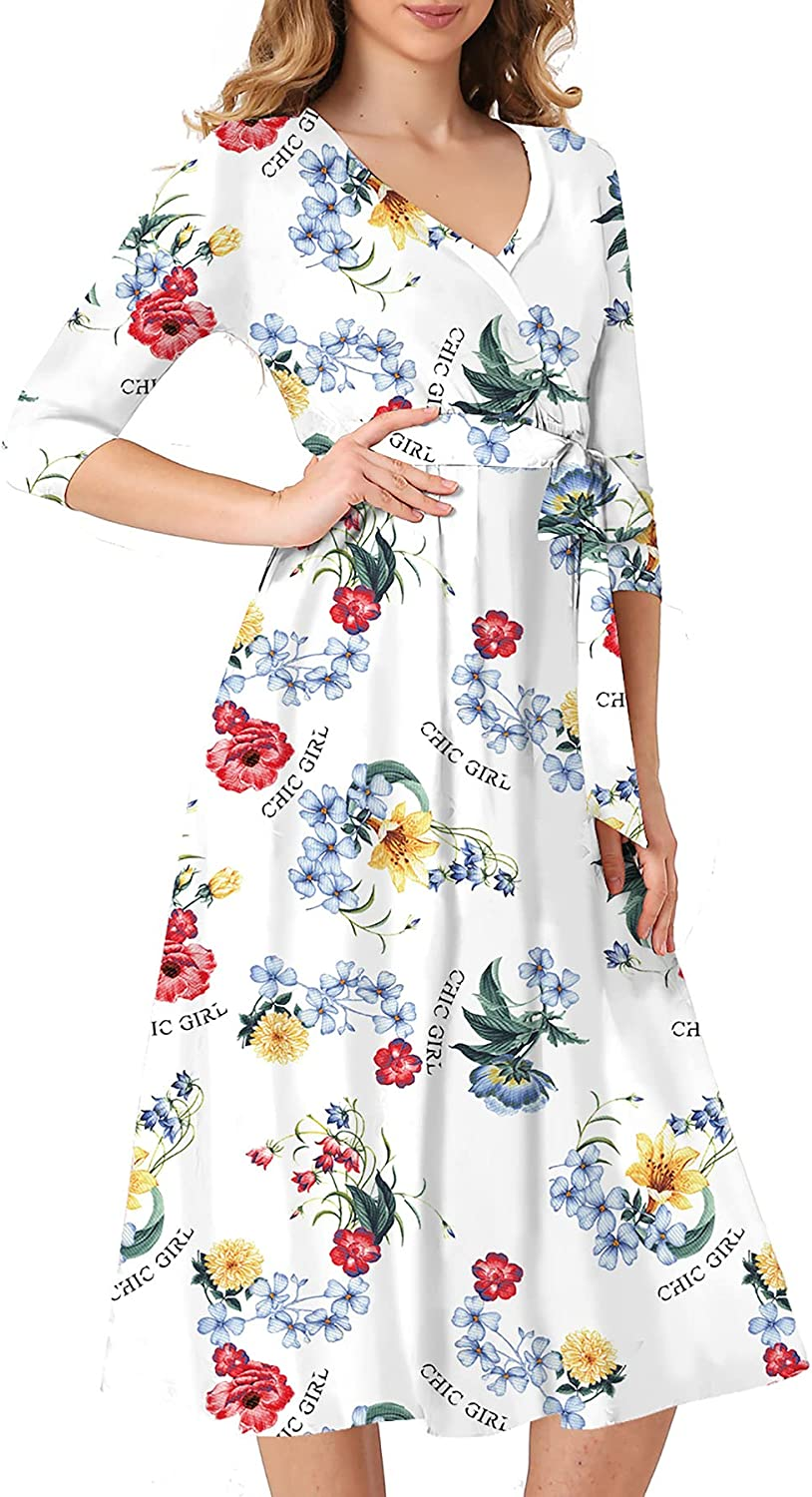 Women's 3/4 Sleeve V Neck Floral Stretchy Printed Faux Wrap Long Dress Loose with Belt