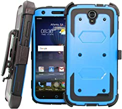 [GALAXY WIRELESS] Compatible for ZTE ZMAX Grand, ZTE Champ, ZTE Avid 916, ZTE Grand X3 Case, ZTE Warp 7 Heavy Duty Belt Clip Holster [Built In Screen Protector] Full Body Coverage Protection - Blue