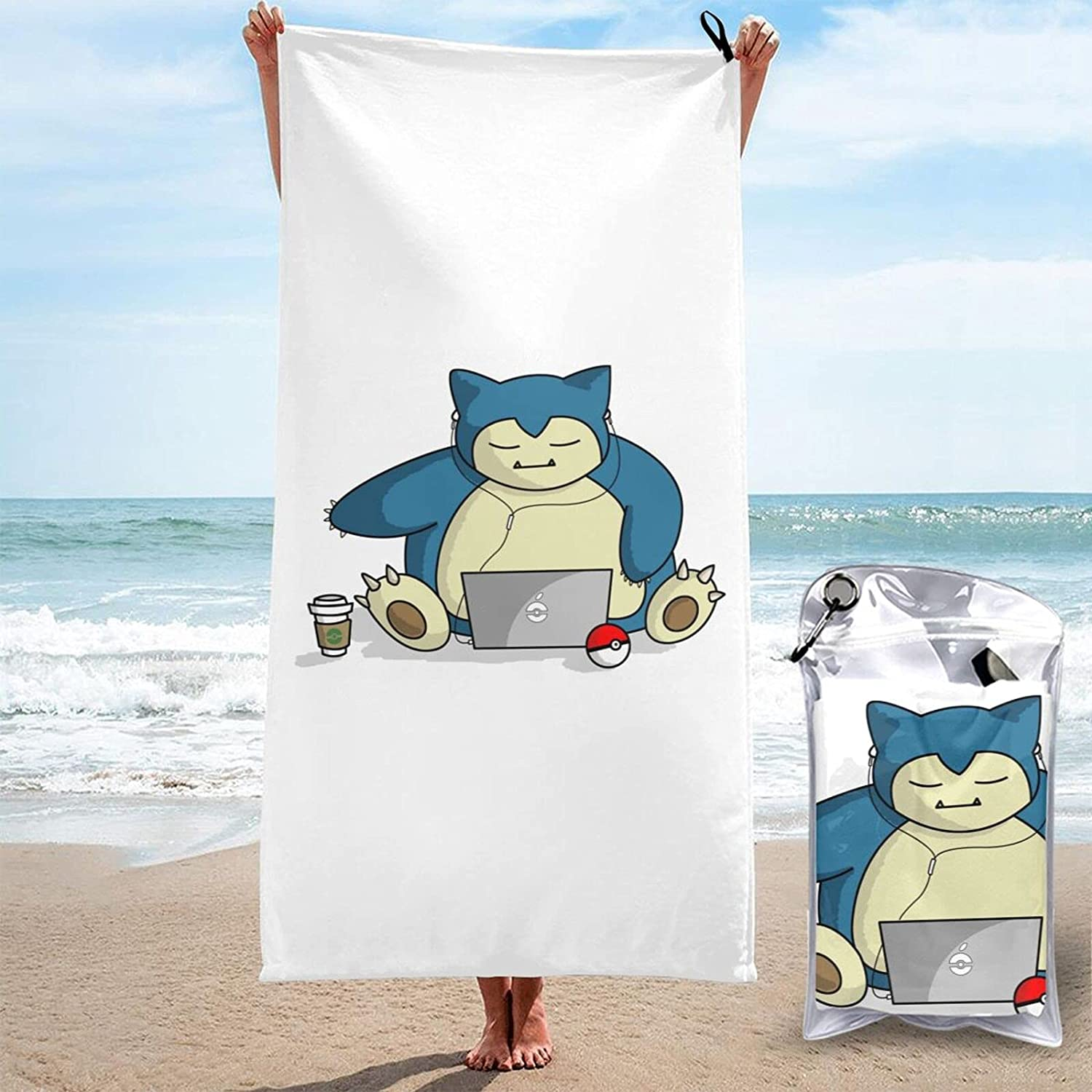 Snorlax 3D Shipping included Printed Large Beach Towels Sand-Free Quick-Dryin Detroit Mall are