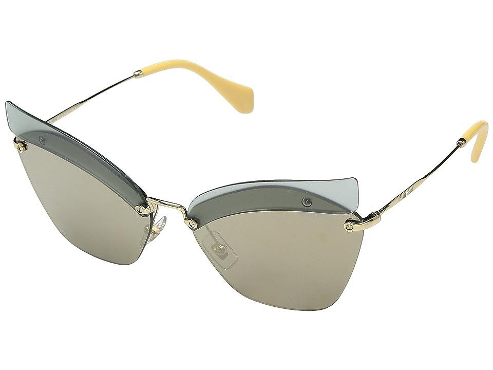 Miu Miu 0MU 56TS (Opal Sage/Light Brown Mirror Gold) Fashion Sunglasses