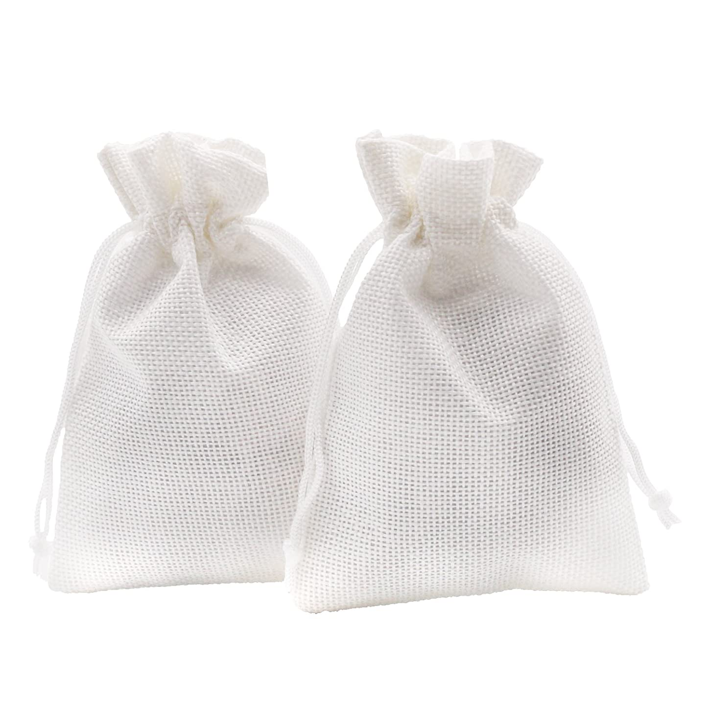 SumDirect Linen Gift Sachets Favors Pouches Party Wedding Jewelry Craft Sacks White Burlap Bags with Nylon Drawstring, 3.7x5.5 Inches,Pack of 20 sjxlraq328687